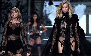 Literally twins! Taylor Swift and BFF Karlie Kloss in black lace during 'Style'
